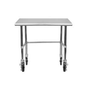 18″ X 30″ Stainless Steel Work Table With Open Base & Casters