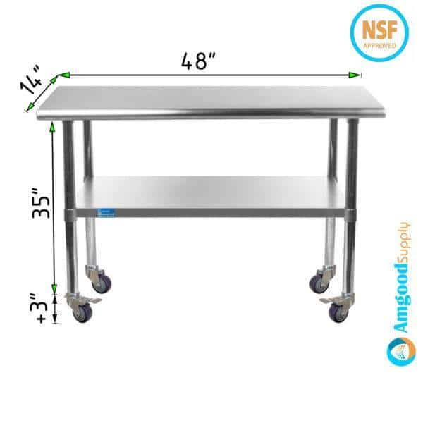 14″ X 48″ Stainless Steel Work Table With Undershelf & Casters