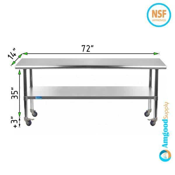 14″ X 72″ Stainless Steel Work Table With Undershelf & Casters