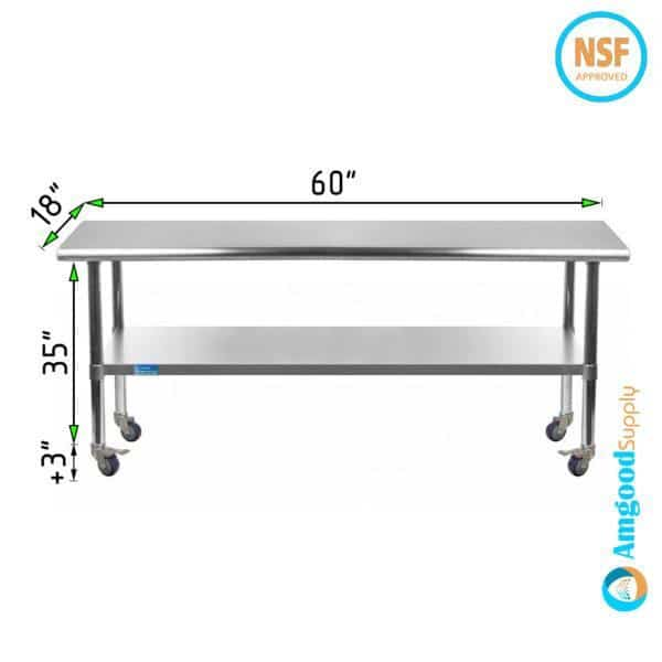 18″ X 60″ Stainless Steel Work Table With Undershelf & Casters