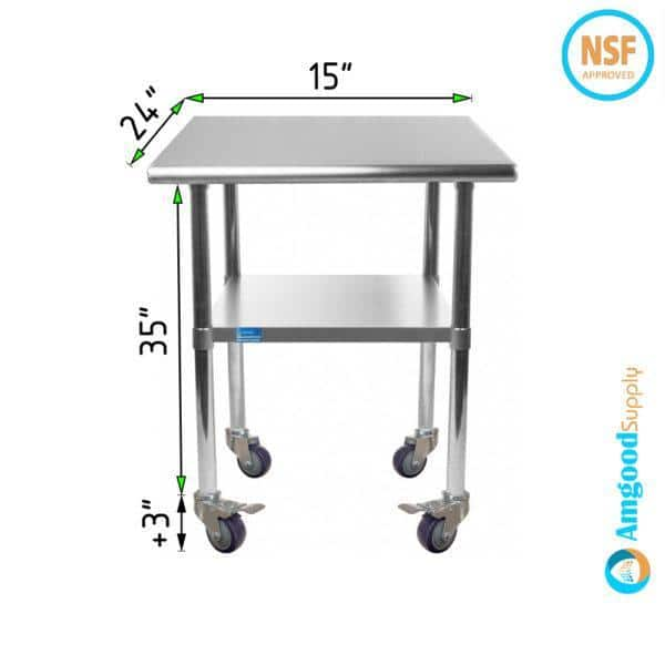 24″ X 15″ Stainless Steel Work Table With Undershelf & Casters