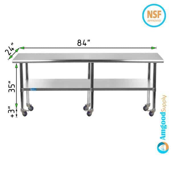 24″ X 84″ Stainless Steel Work Table With Undershelf & Casters