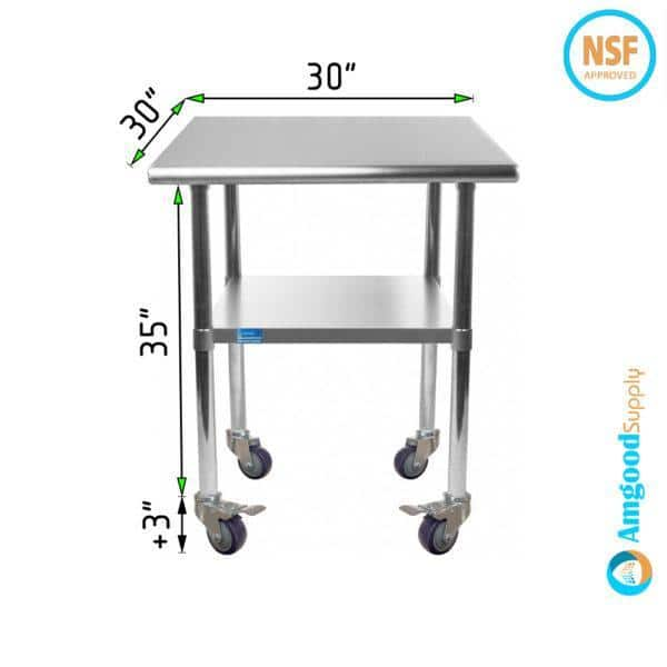 30″ X 30″ Stainless Steel Work Table With Undershelf & Casters