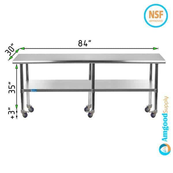 30″ X 84″ Stainless Steel Work Table With Undershelf & Casters