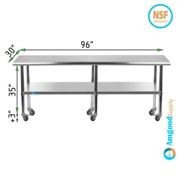 30″ X 96″ Stainless Steel Work Table With Undershelf & Casters