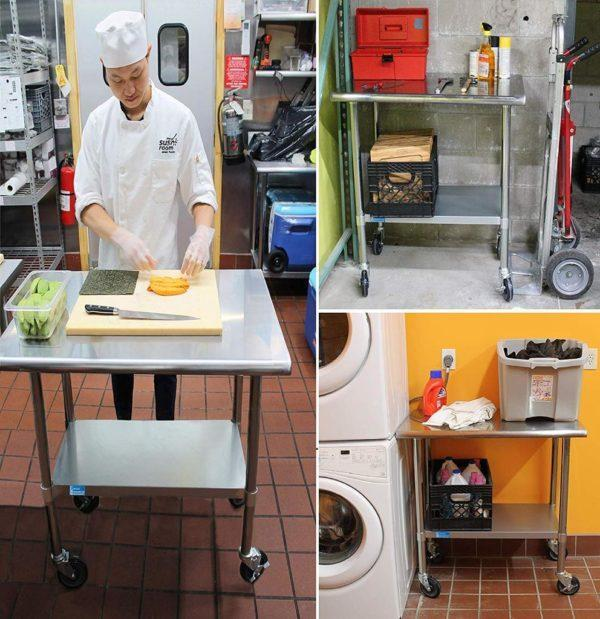 18″ X 96″ Stainless Steel Work Table With Undershelf & Casters