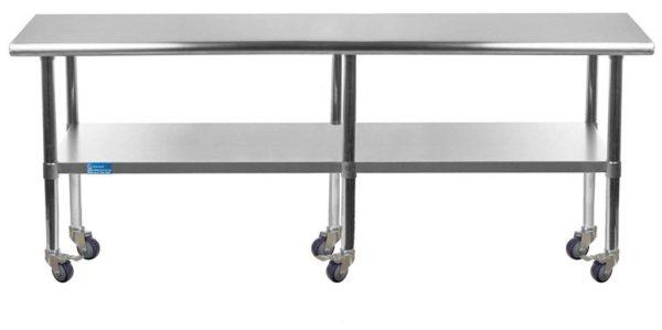 14″ X 96″ Stainless Steel Work Table With Undershelf & Casters
