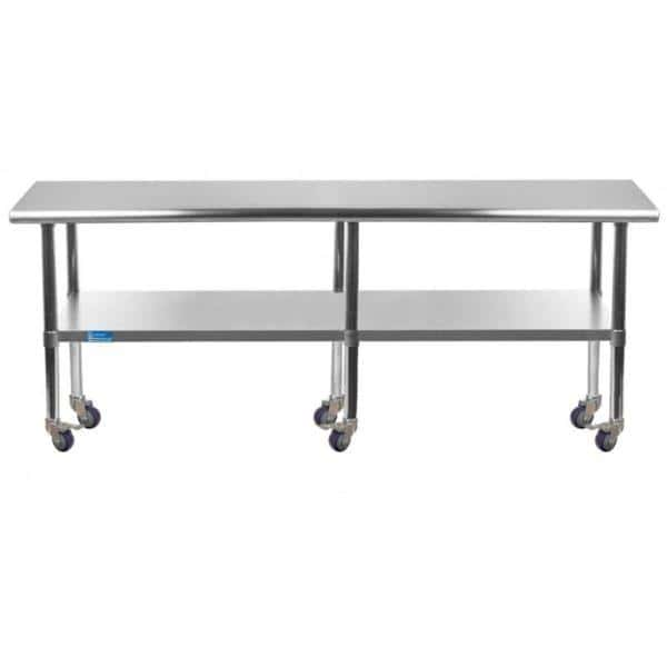 24″ X 96″ Stainless Steel Work Table With Undershelf & Casters
