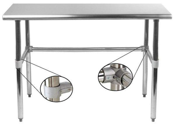 14″ X 96″ Stainless Steel Work Table With Open Base