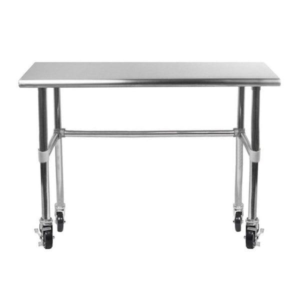 24″ X 48″ Stainless Steel Work Table With Open Base & Casters