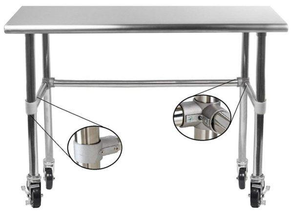 14″ X 24″ Stainless Steel Work Table With Open Base & Casters