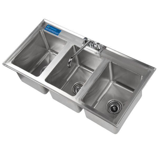 10″ x 14″ x 10″ Stainless Steel 3 Compartment Drop in Sink With Faucet