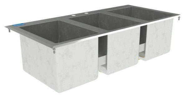 10″ X 14″ X 10″ Stainless Steel 3 Compartment Drop in Sink Without Faucet