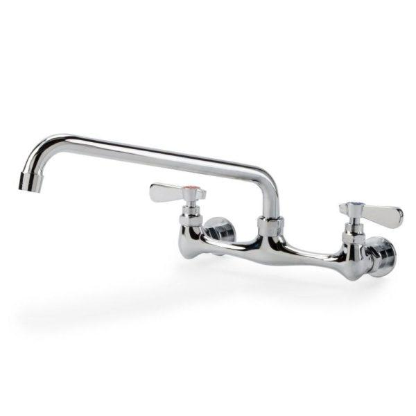 Wall Mount Faucet with 10″ Swing Spout, 8″ Centers and Lever Handles