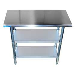 Home - stainless steel work tables with two undershelves 250x250 1