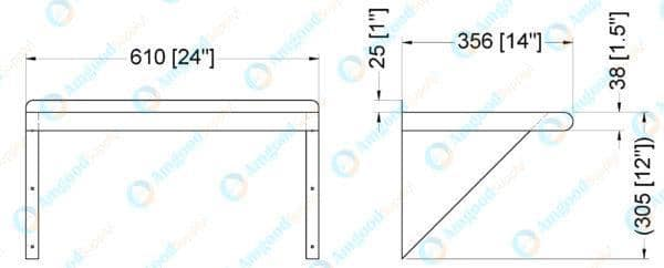 14″ X 24″ Stainless Steel Wall Mount Shelf