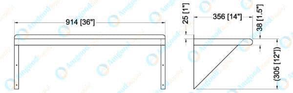 14″ X 36″ Stainless Steel Wall Mount Shelf