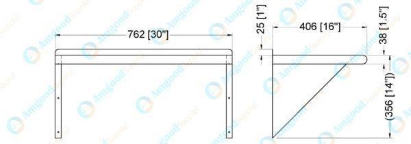 16″ X 30″ Stainless Steel Wall Mount Shelf