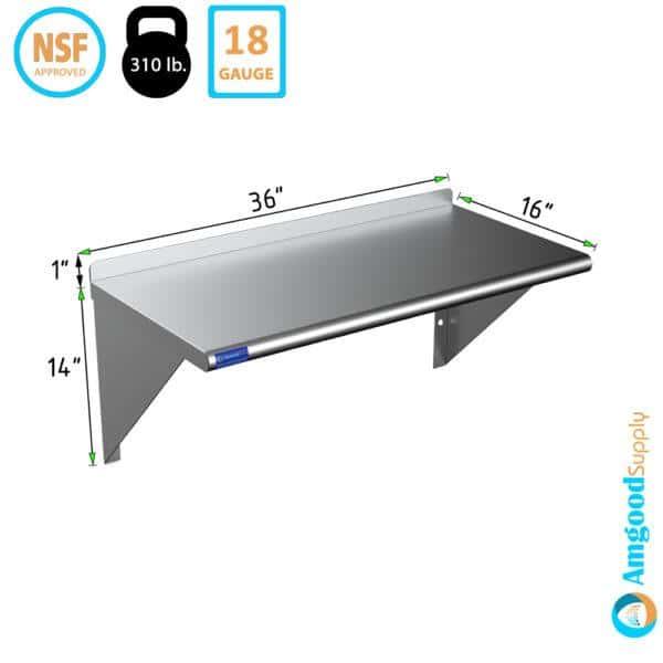 16″ X 36″ Stainless Steel Wall Mount Shelf