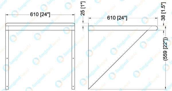 24″ X 24″ Stainless Steel Wall Mount Shelf