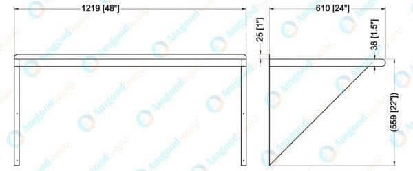 24″ X 48″ Stainless Steel Wall Mount Shelf