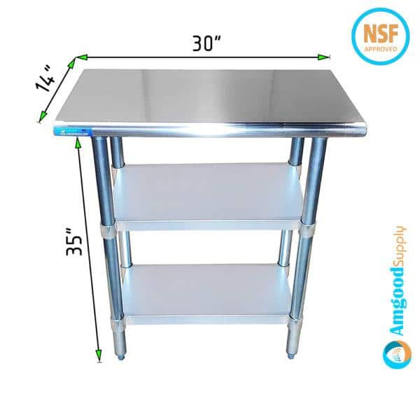 14″ X 30″ Stainless Steel Work Table With Second Undershelf
