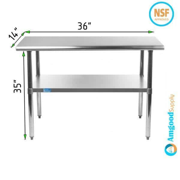 14″ X 36″ Stainless Steel Work Table With Undershelf