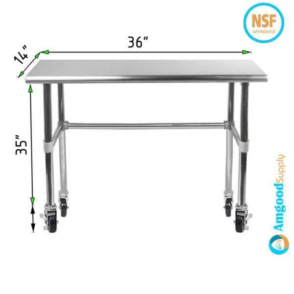 14″ X 36″ Stainless Steel Work Table With Open Base & Casters