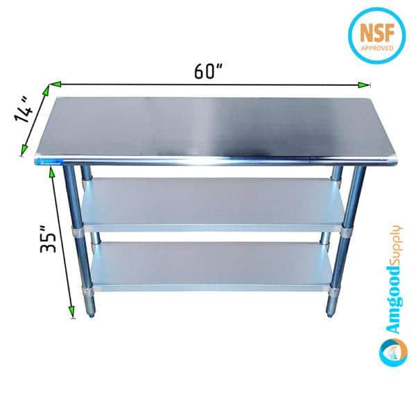 14″ X 60″ Stainless Steel Work Table With Second Undershelf