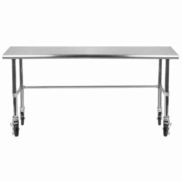 24″ X 72″ Stainless Steel Work Table With Open Base & Casters