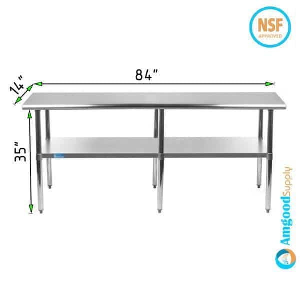 14″ X 84″ Stainless Steel Work Table With Undershelf