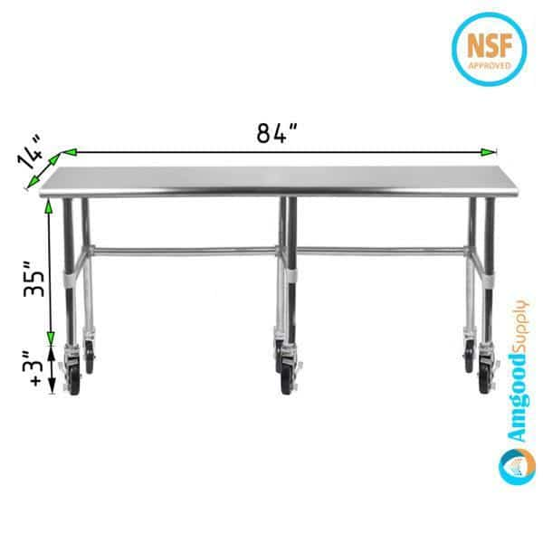 14″ X 84″ Stainless Steel Work Table With Open Base & Casters