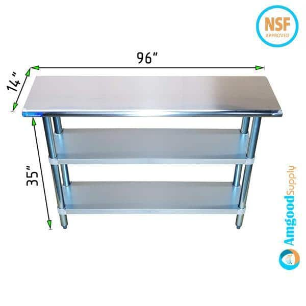 14″ X 96″ Stainless Steel Work Table With Second Undershelf
