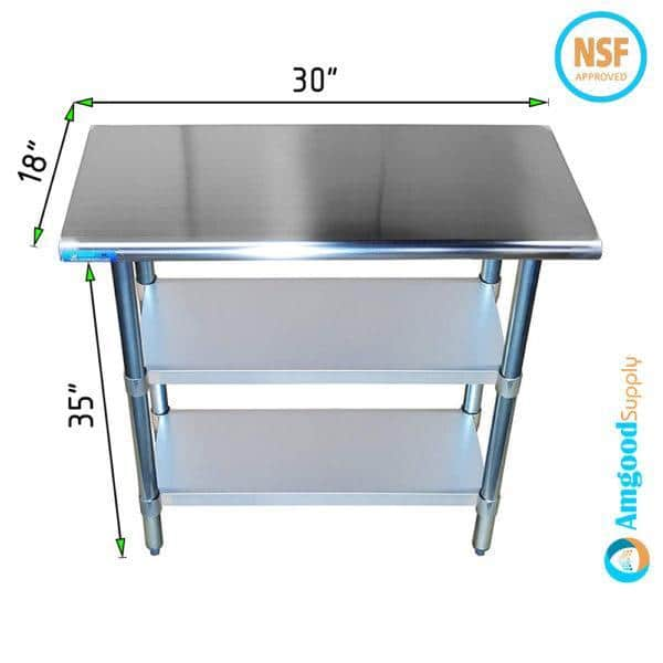 18″ X 30″ Stainless Steel Work Table With Second Undershelf