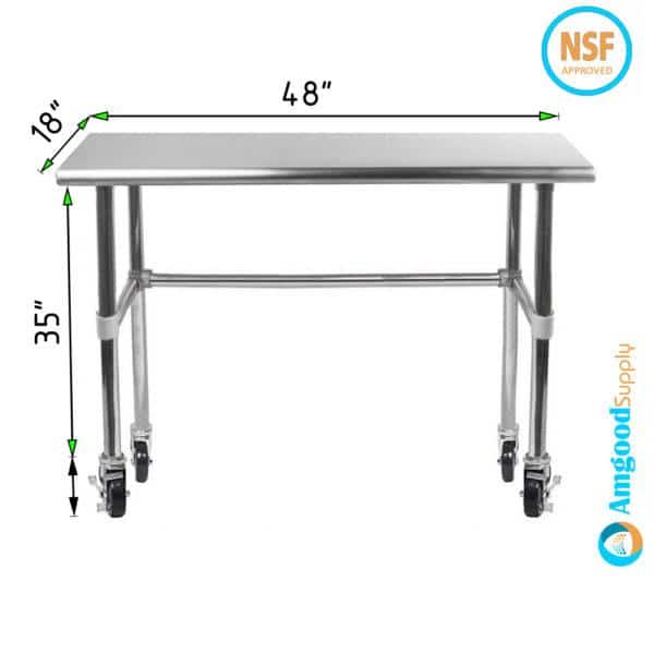 18″ X 48″ Stainless Steel Work Table With Open Base & Casters