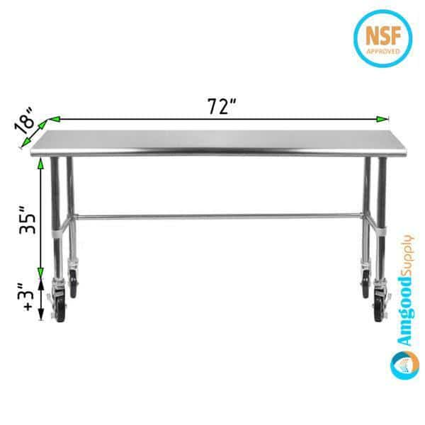 18″ X 72″ Stainless Steel Work Table With Open Base & Casters