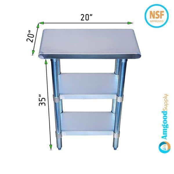 20″ X 20″ Stainless Steel Work Table With Second Undershelf