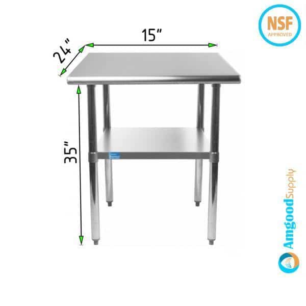 24″ X 15″ Stainless Steel Work Table With Undershelf