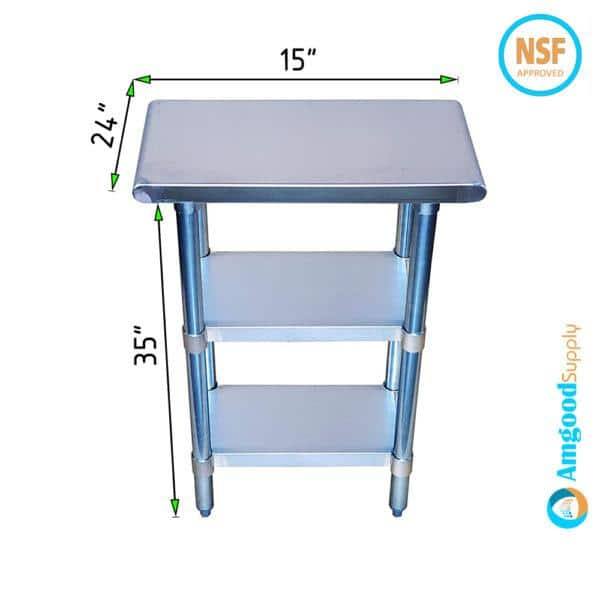 24″ X 15″ Stainless Steel Work Table With Second Undershelf