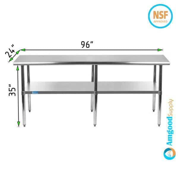24″ X 96″ Stainless Steel Work Table With Undershelf