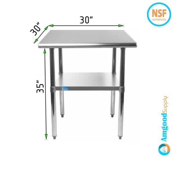 30″ X 30″ Stainless Steel Work Table With Undershelf