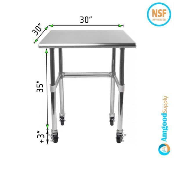 30″ X 30″ Stainless Steel Work Table With Open Base & Casters