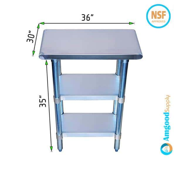 30″ X 36″ Stainless Steel Work Table With Second Undershelf