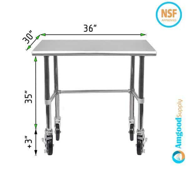 30″ X 36″ Stainless Steel Work Table With Open Base & Casters