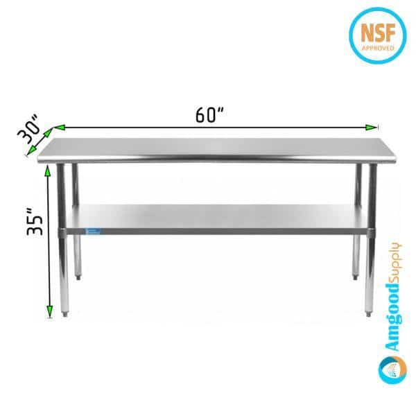 30″ X 60″ Stainless Steel Work Table With Undershelf