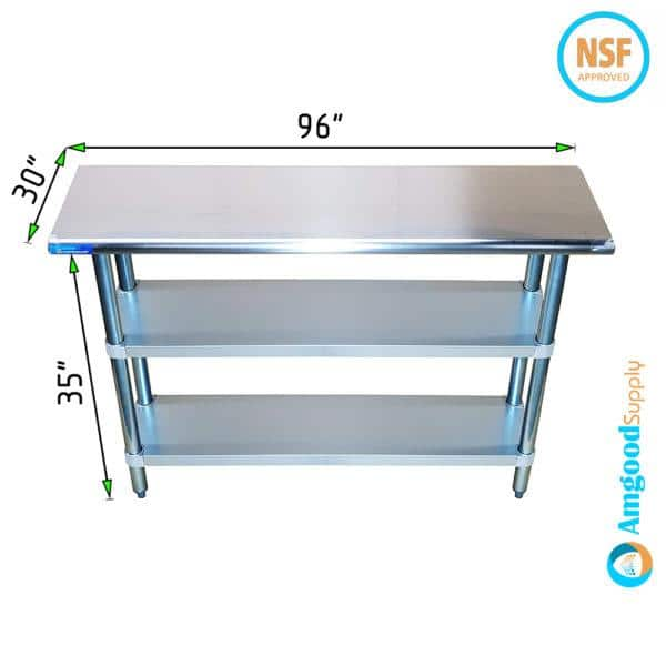 30″ X 96″ Stainless Steel Work Table With Second Undershelf
