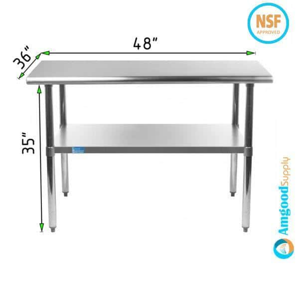 36″ X 48″ Stainless Steel Work Table With Undershelf