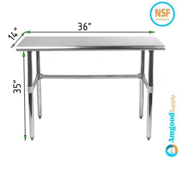 14″ X 36″ Stainless Steel Work Table With Open Base