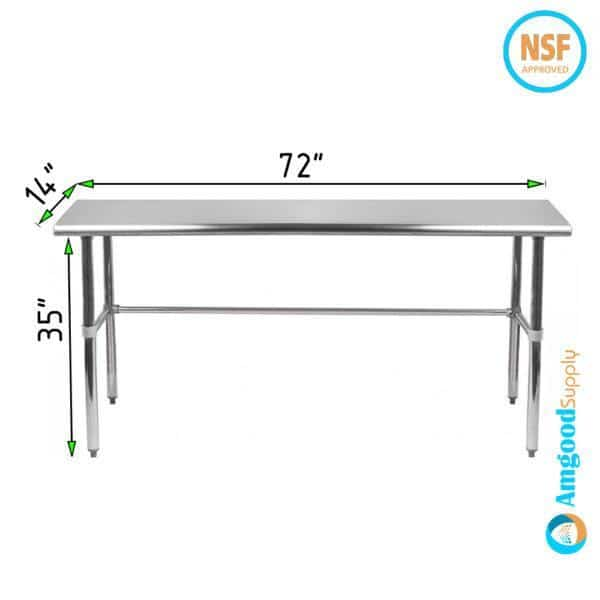 14″ X 72″ Stainless Steel Work Table With Open Base