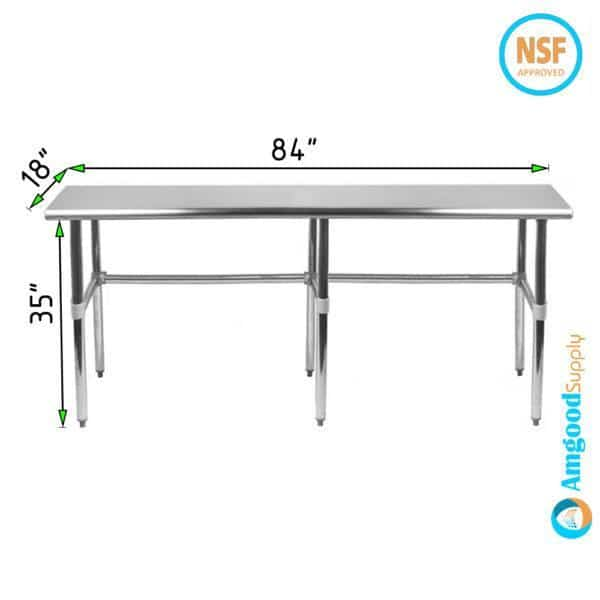 18″ X 84″ Stainless Steel Work Table With Open Base
